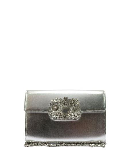 Roger Vivier Metallic Leather Flap-Top Clutch Bag