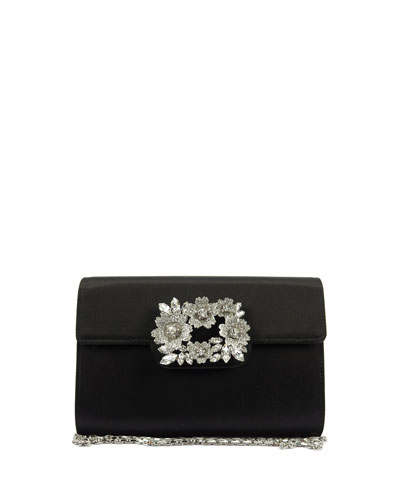 Envelope Embellished Satin Clutch Bag