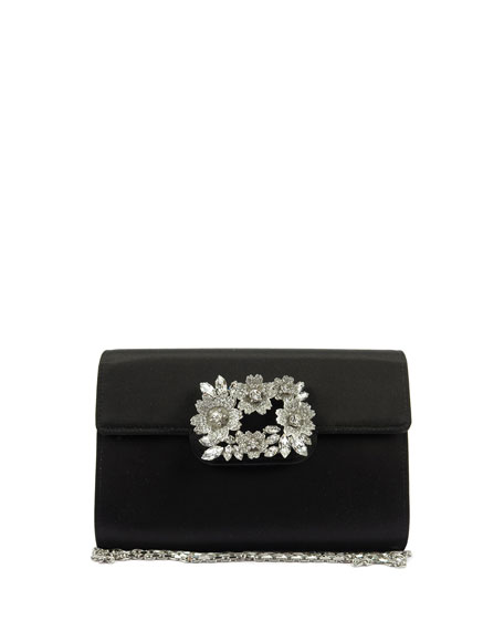 Roger Vivier Envelope Embellished Satin Clutch Bag