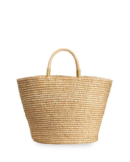 Sensi Studio Maxi Woven Straw Basket Tote Bag w/ Double Golden Thread