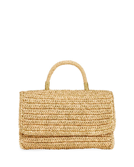 Sensi Studio Woven Straw Top Handle Satchel Bag w/ Double Golden Thread