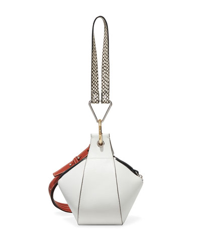 Grainy Leather Zipper Pochette Bag