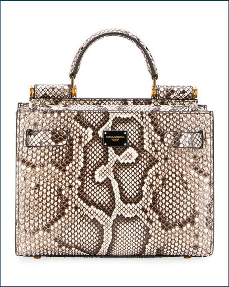 Dolce & Gabbana Sicily Mini Python Top-Handle Bag