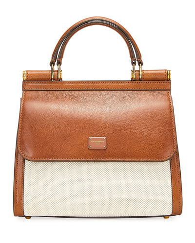 Canvas And Leather Shoulder  Bag