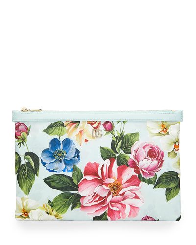 Floral Printed Nylon Pouch Bag
