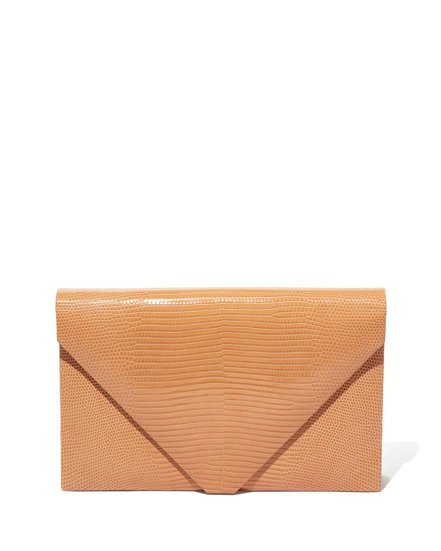 Envelope Clutch Bag in Beige Lizard