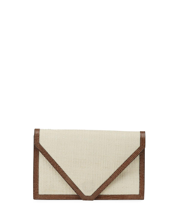 Lizard-Trim Envelope Clutch Bag
