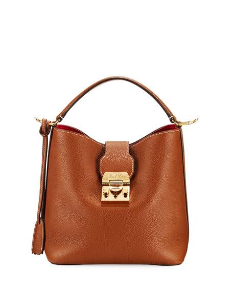 Mark Cross Murphy Small Grain Leather Bucket Bag