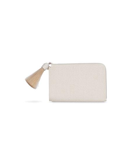 Akris Alexa Raffia Zip Pouch Clutch Bag with Tassel