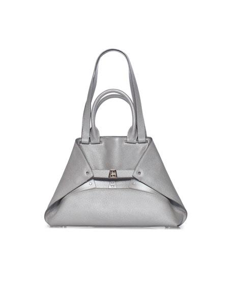 Akris Aicon Small Metallic Double-Handle Tote Bag