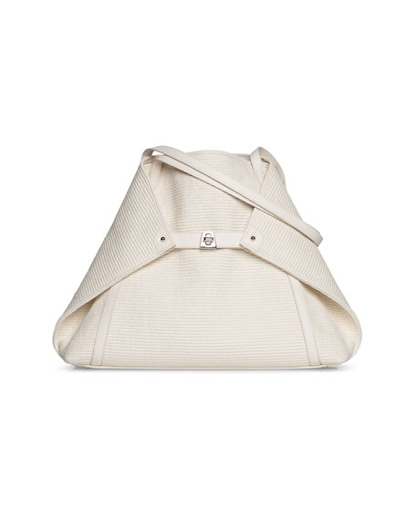 Akris Ai Medium Soft Raffia Fabric Shoulder Tote Bag