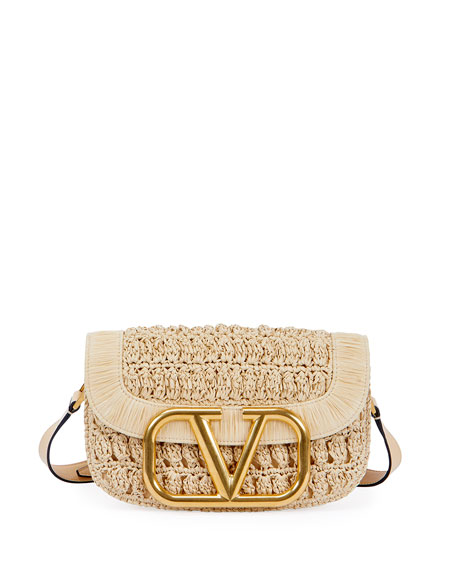 Valentino Garavani Supervee Textile/Leather Shoulder Bag