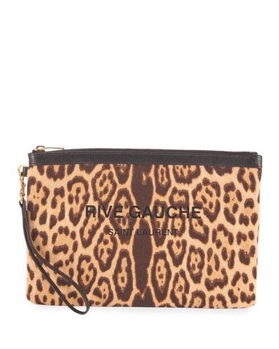 Leopard-Print Zip Wristlet Pouch