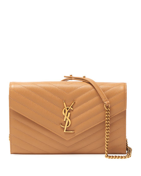 Saint Laurent Monogram YSL Large Grain de Poudre Leather Wallet on Chain