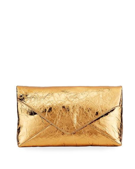 Dries Van Noten Crinkle Metallic Leather Envelope Clutch Bag