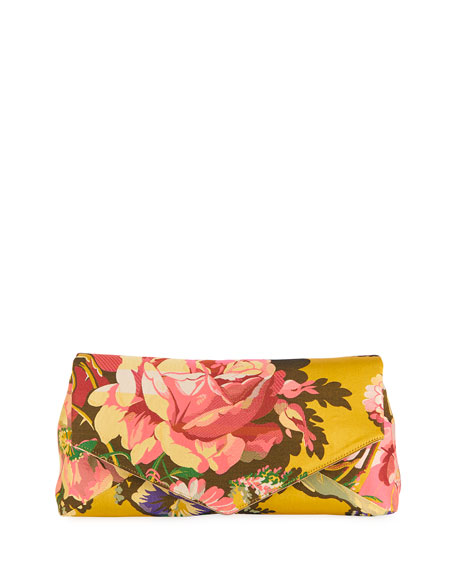 Dries Van Noten Floral Envelope Oversized Clutch Bag