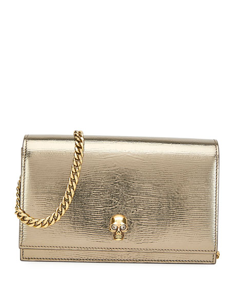Alexander McQueen Mini Metallic Crossbody Bag with Small Skull