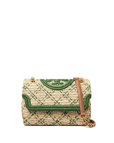 Fleming Small Soft Straw Convertible Shoulder Bag