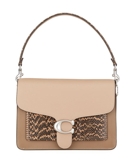 Coach 1941 Tabby Colorblock Mixed Leather Shoulder Bag with Exotic Pocket