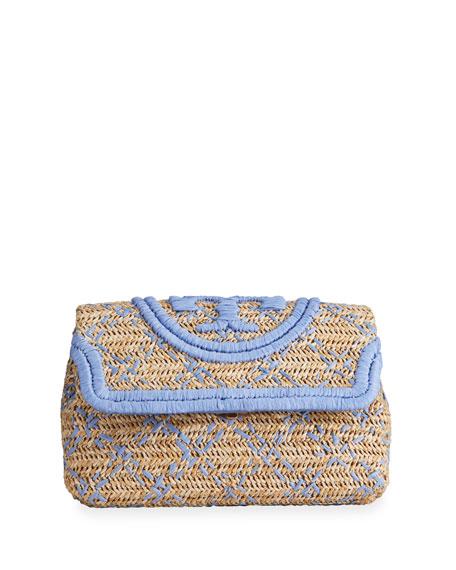Tory Burch Fleming Soft Straw Clutch Bag