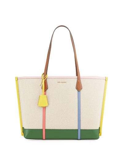 Perry Multicolored Strap Canvas Tote Bag