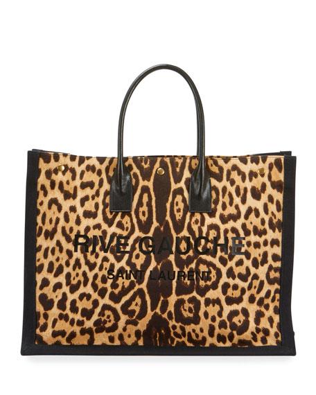 Saint Laurent Noe Leopard-Print Rive Gauche Tote Bag