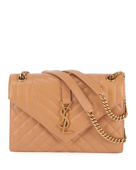 Saint Laurent Monogram YSL Large Tri-Quilted Envelope Chain Shoulder Bag