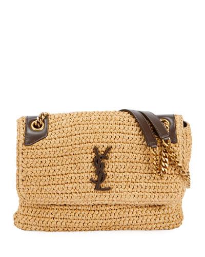 Niki Medium Monogram YSL Raffia Shoulder Bag