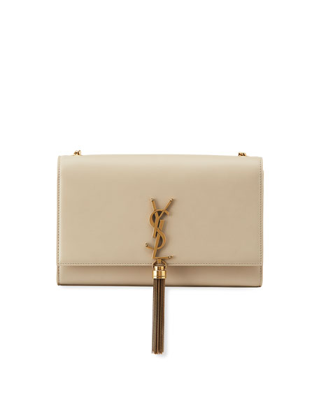 Saint Laurent Kate Monogram YSL Medium Leather Chain Tassel Shoulder Bag