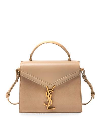 Cassandre Mini Monogram YSL Suede/Leather Top-Handle Bag