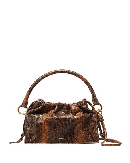 Yuzefi Bom Snake-Print Leather Shoulder Bag