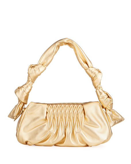 Miu Miu Matelasse Degrade Metallic Knotted Clutch Bag