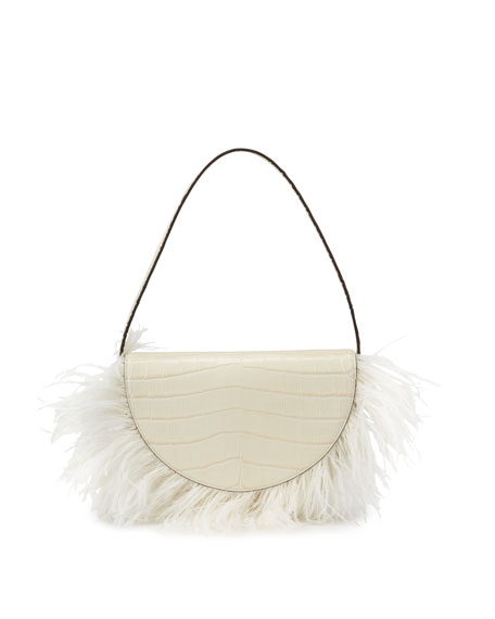 Staud Amal Mock-Croc Feathered Shoulder Bag