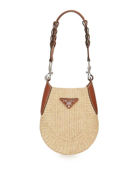 Prada Small Raffia Hobo Bag