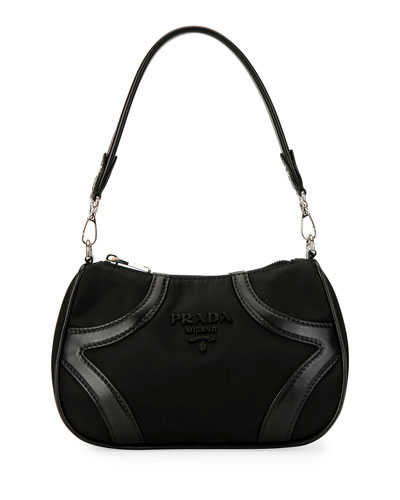 Tessuto Nylon & Leather Bowling Bag