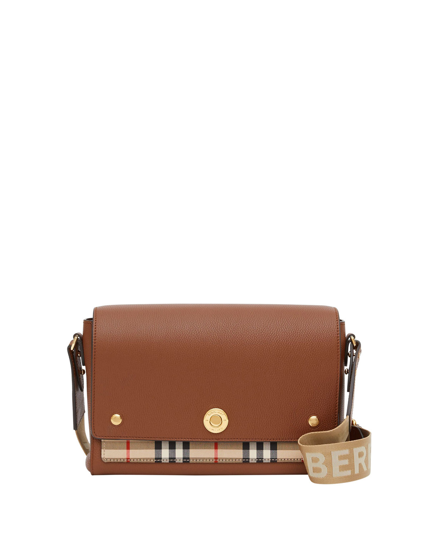 Note Medium Vintage Check & Leather Crossbody Bag with Logo Web Strap