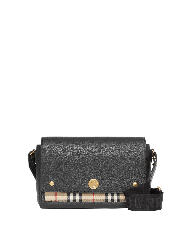 Note Medium Leather & Vintage Check Crossbody Bag