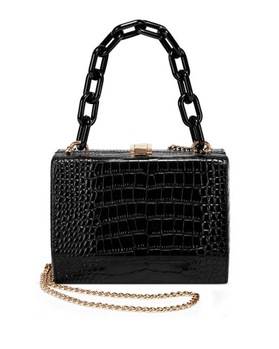 Mock-Croc Link-Handle Box Clutch Bag