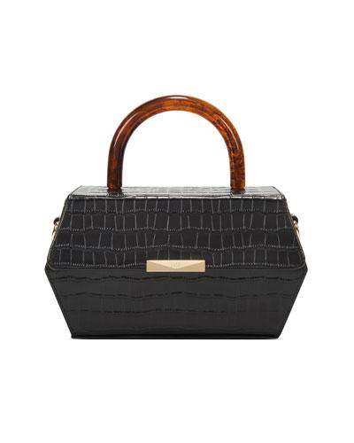 Hexagon Mock-Croc Top-Handle Box Bag