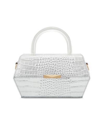 Hexagon Metallic Mock-Croc Top-Handle Box Bag