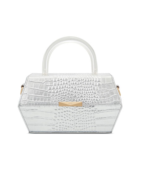 Rafe Hexagon Metallic Mock-Croc Top-Handle Box Bag