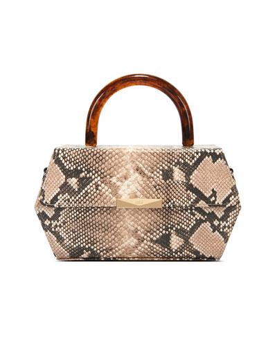 Hexagon Snake-Print  Top-Handle Box Bag