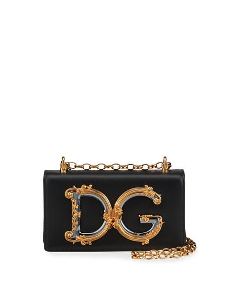 Dolce & Gabbana Barocco Leather Shoulder Bag
