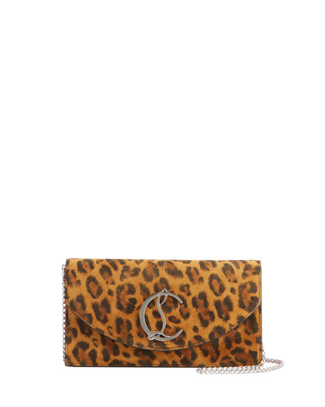 Christian Louboutin Loubi54 Leopard-Print Calf Leather Clutch Bag