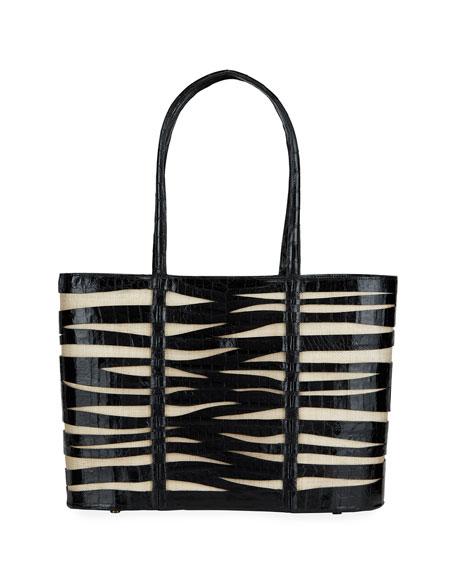 Nancy Gonzalez Large Zebra Croc/Linen Tote Bag