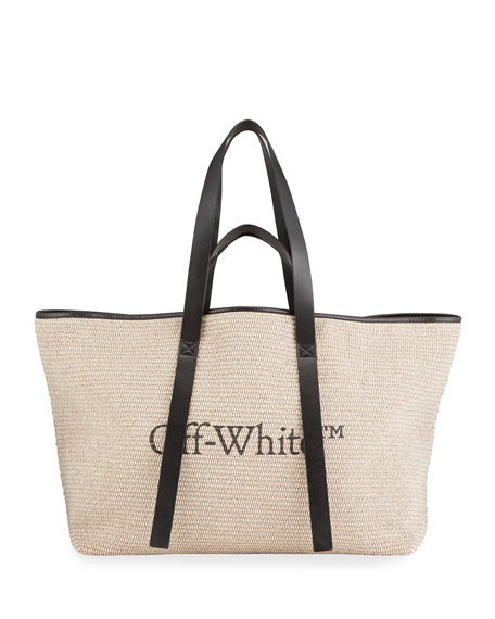 Off-White Commercial Canvas Tote Bag with Logo