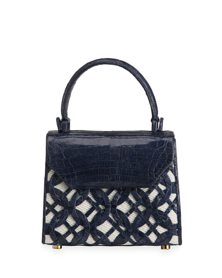 Nancy Gonzalez Lily Mini Circle Weave Linen/Crocodile Top-Handle Bag