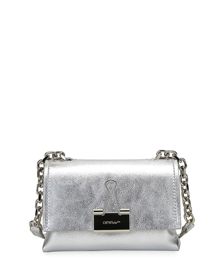 Off-White Laminate Small Metallic Shoulder Bag