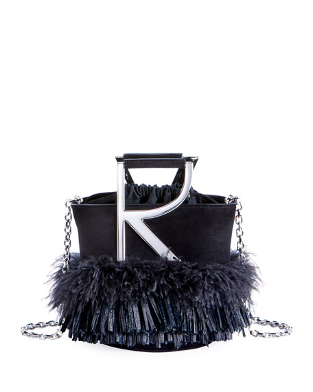 Roger Vivier RV Feather Fringe Mini Top Handle Bag