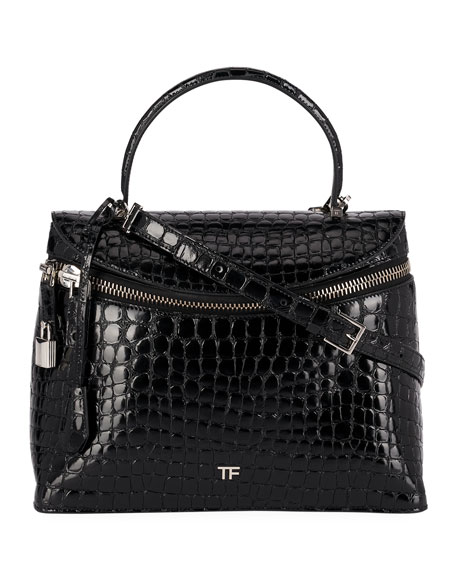 TOM FORD Metro Embossed Leather Top-Handle Bag
